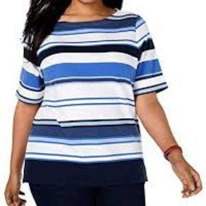 Karen Scott Boatneck Cuff Sleeves Blue Stripe Top